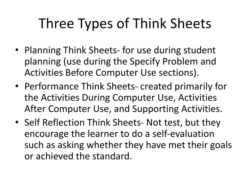 Three Types of Think Sheets