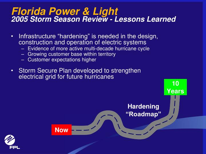 Florida power light 2005 storm season review lessons learned