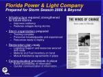 florida power light company prepared for storm season 2006 beyond