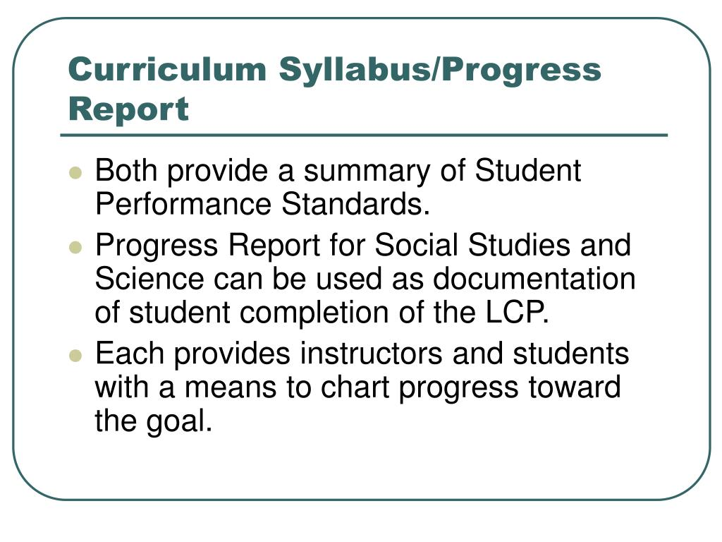 Curriculum Syllabus/Progress Report