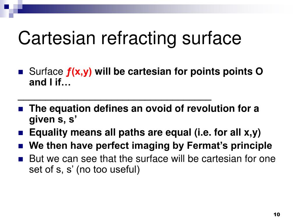 Cartesian refracting surface