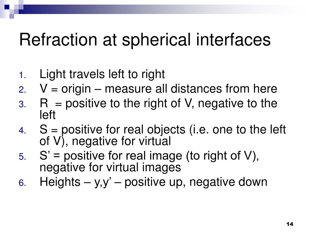 Refraction at spherical interfaces