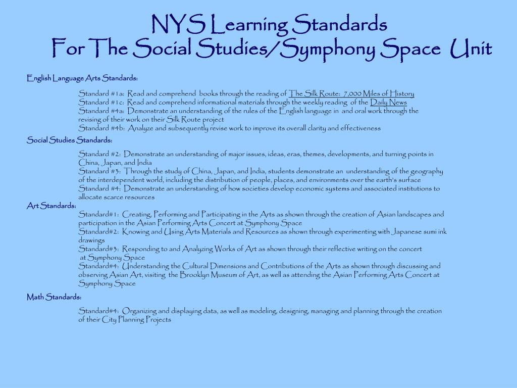 NYS Learning Standards