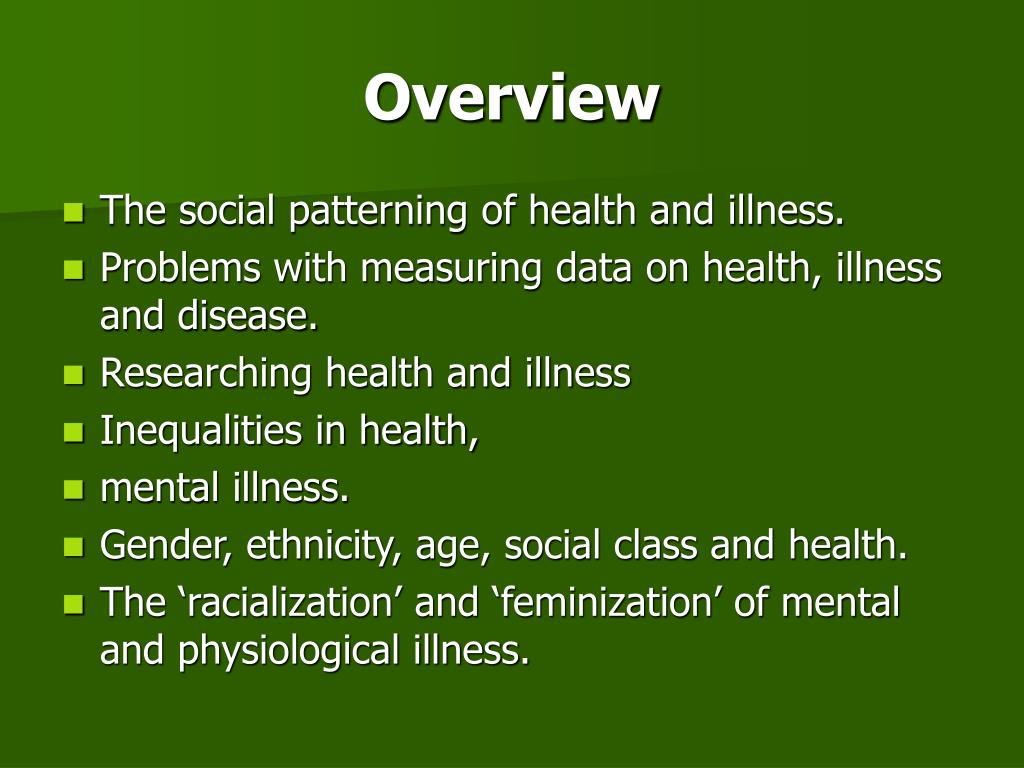 inequalities in health and illness