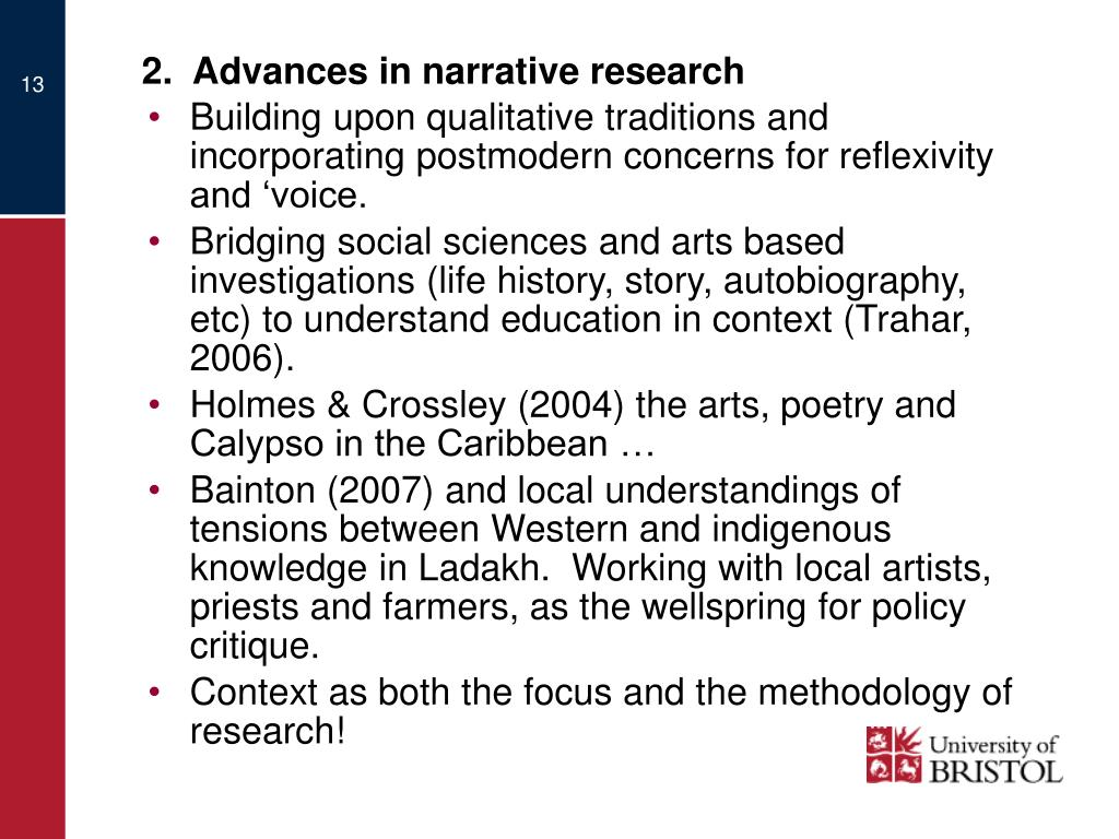 2.  Advances in narrative research