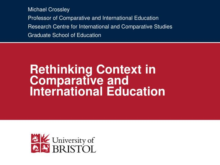 Rethinking context in comparative and international education