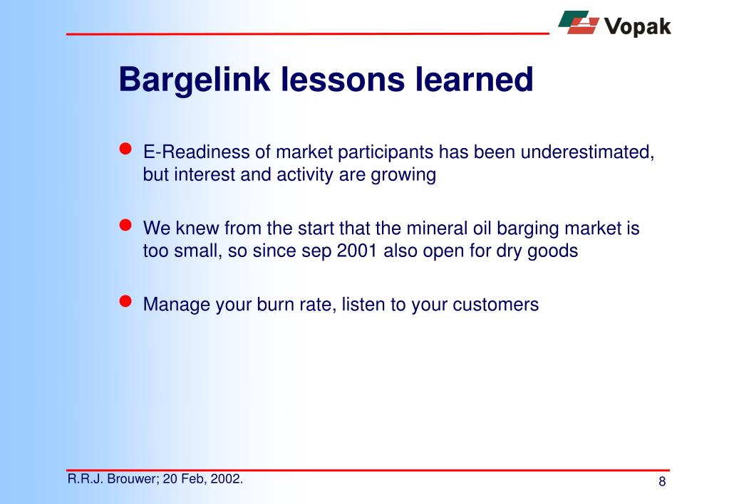 Bargelink lessons learned