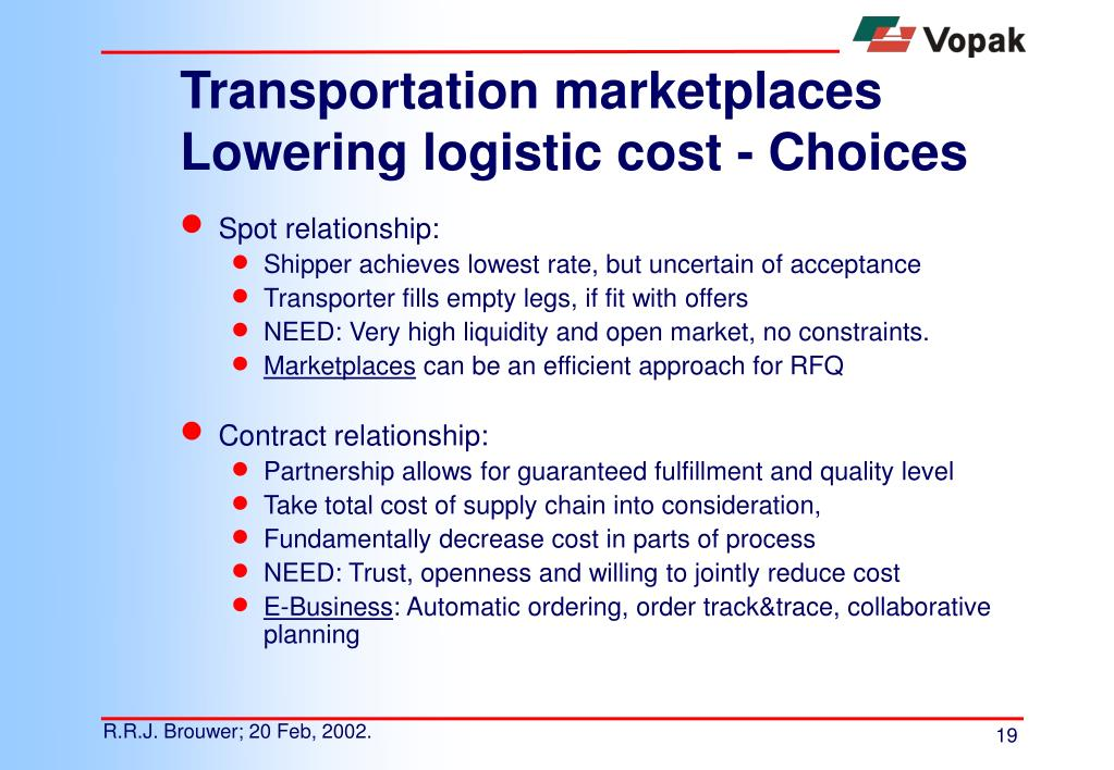 Transportation marketplaces Lowering logistic cost - Choices