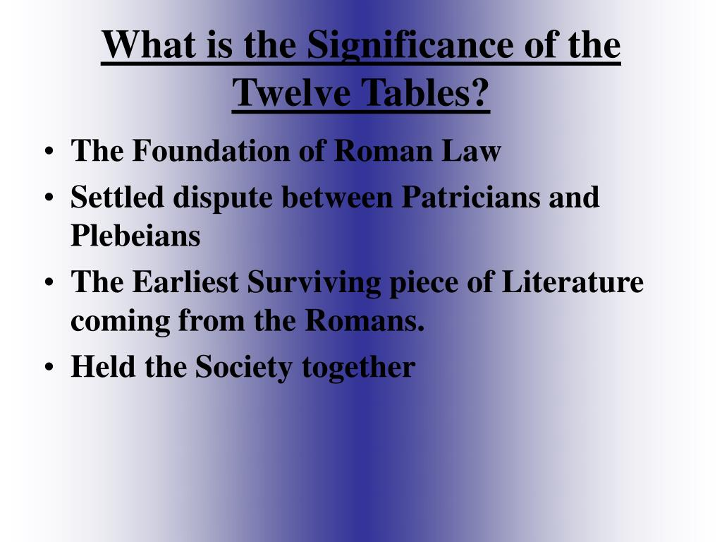 twelve tables The twelve tables: ancient rome's most basic and universal laws.