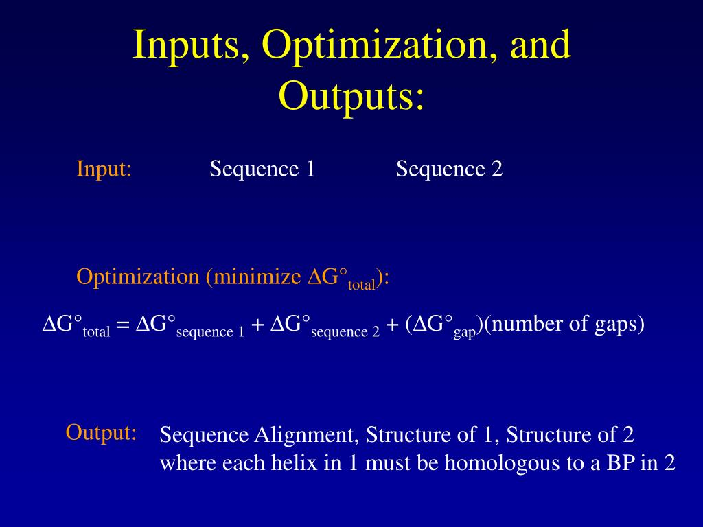 Inputs, Optimization, and Outputs: