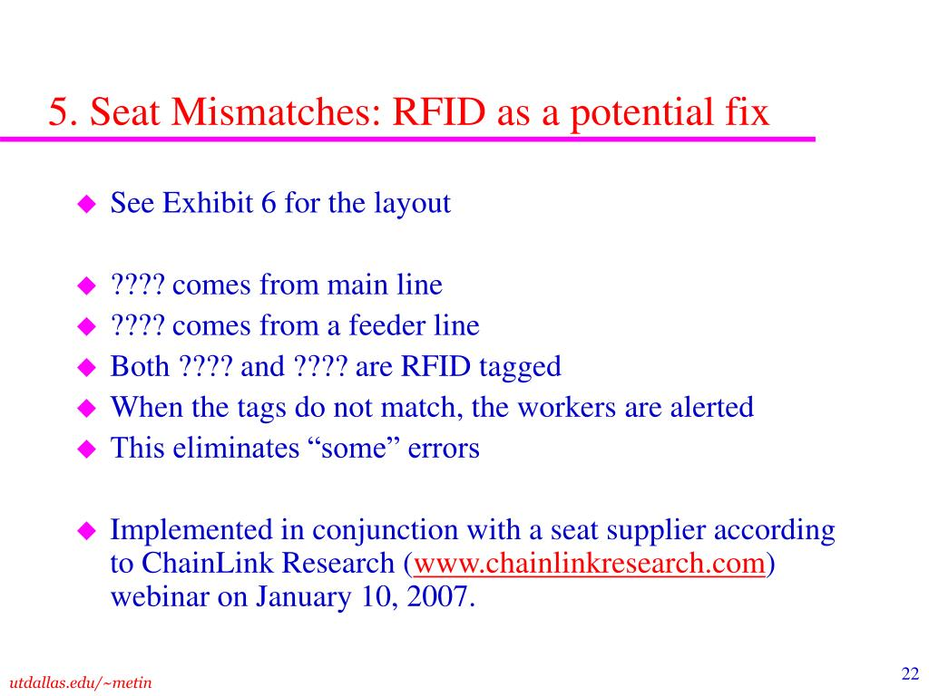 5. Seat Mismatches: RFID as a potential fix