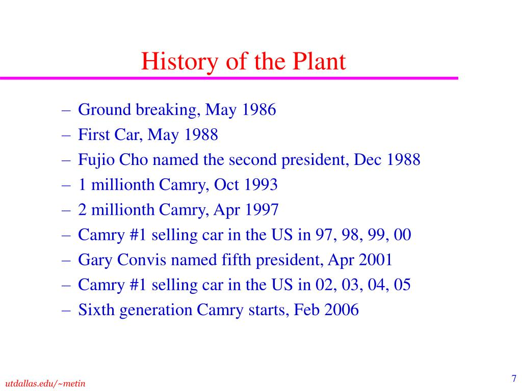 History of the Plant