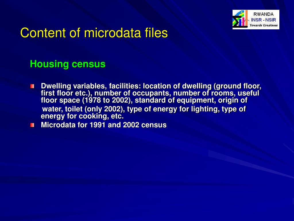 Content of microdata files