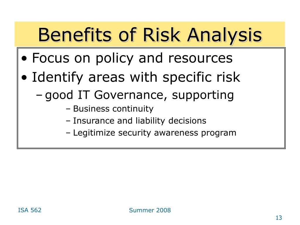 Benefits of Risk Analysis