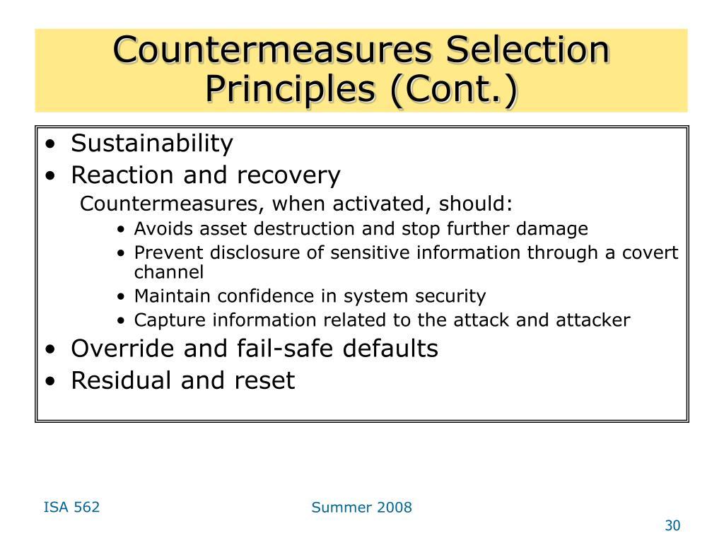 Countermeasures Selection Principles (Cont.)