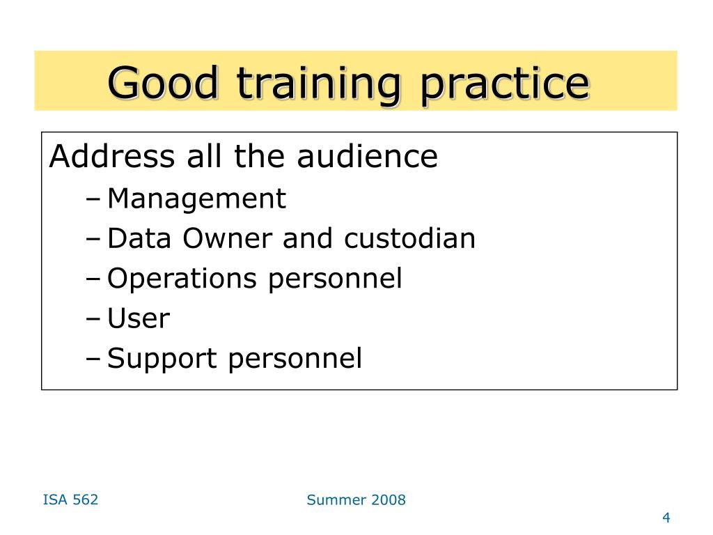 Good training practice