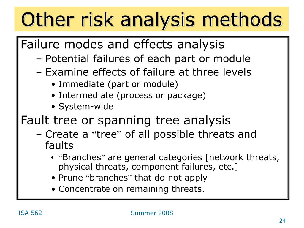 Other risk analysis methods