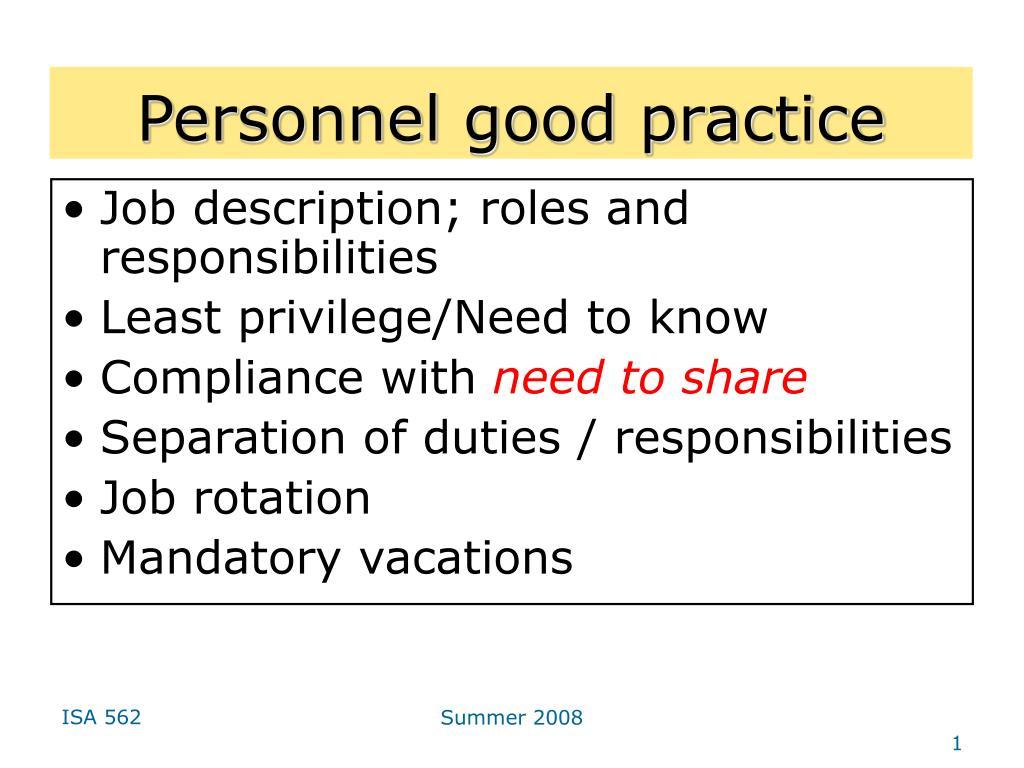 Personnel good practice