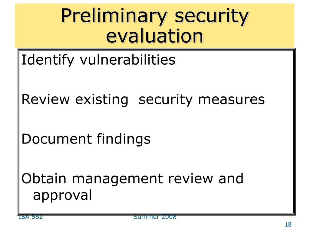 Preliminary security evaluation