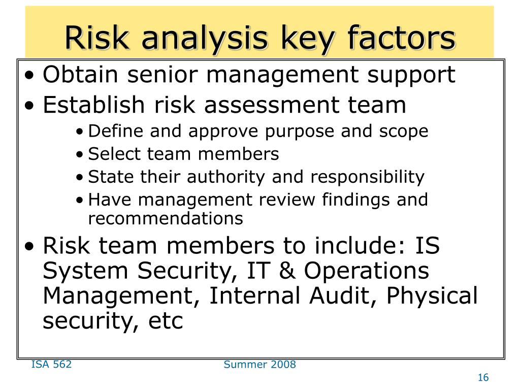 Risk analysis key factors