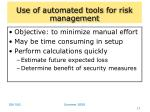 use of automated tools for risk management