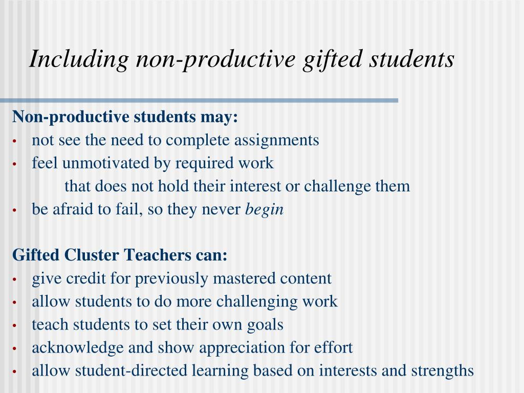 Including non-productive gifted students