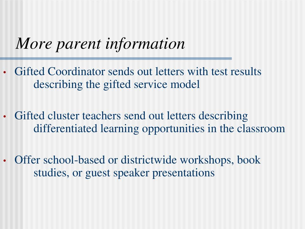 More parent information
