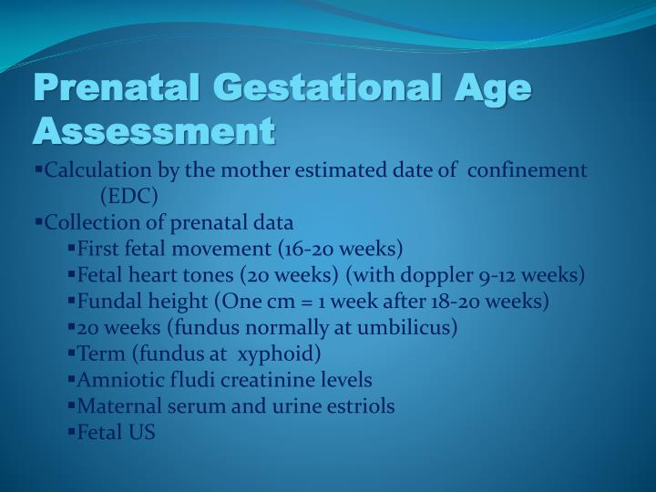 Prenatal gestational age assessment