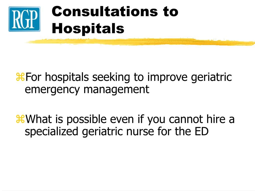 Consultations to Hospitals