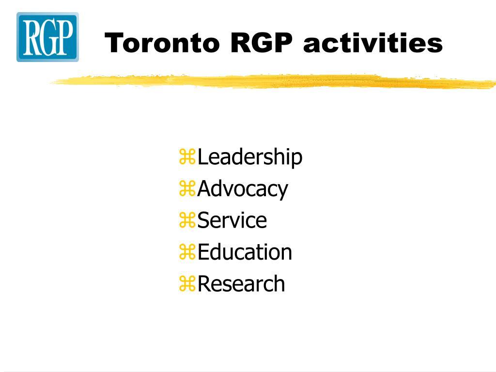 Toronto RGP activities