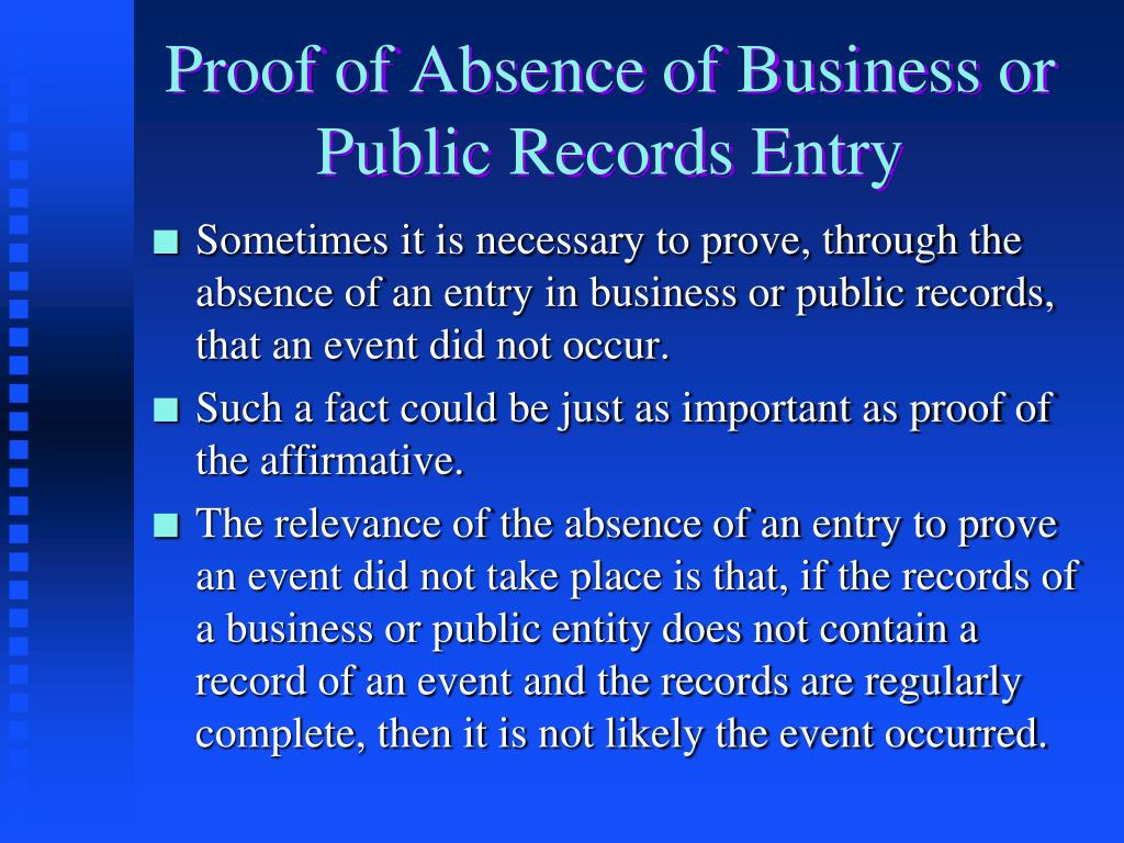 Proof of Absence of Business or Public Records Entry