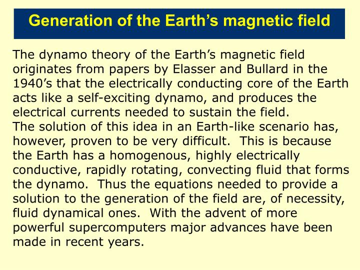 Generation of the Earth's magnetic field
