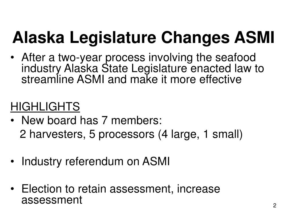Alaska Legislature Changes ASMI