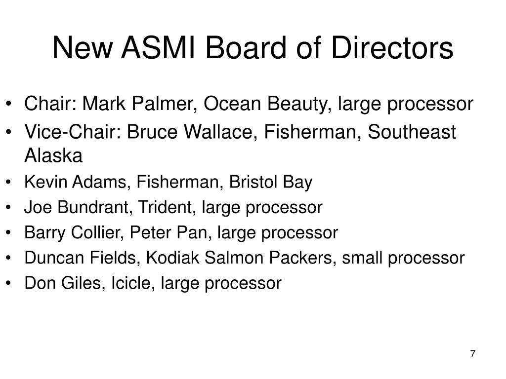 New ASMI Board of Directors