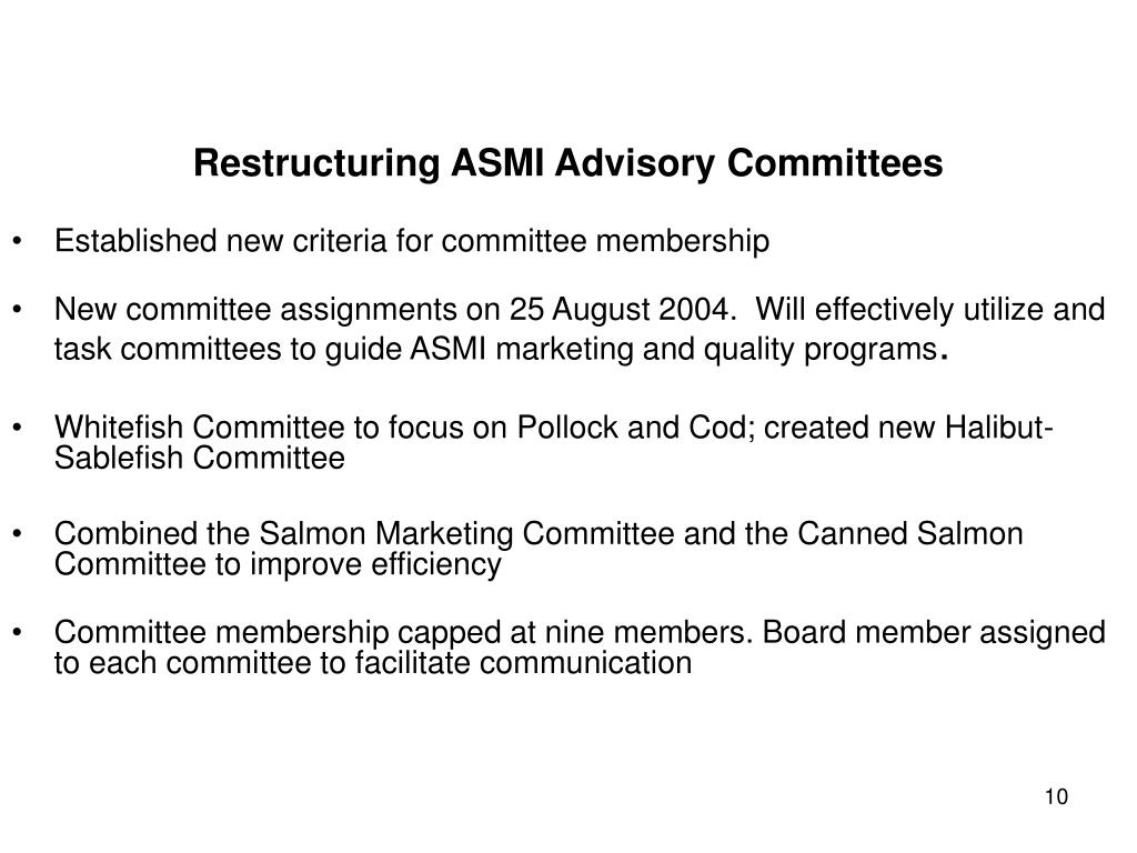 Restructuring ASMI Advisory Committees