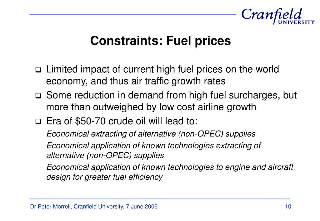 Constraints: Fuel prices