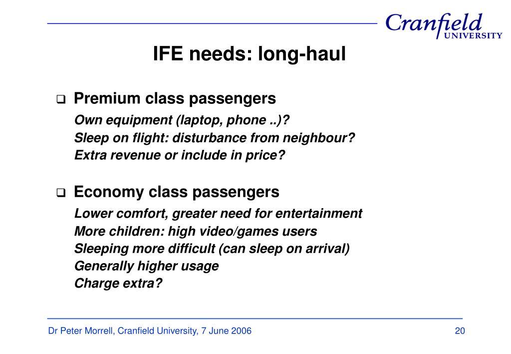 IFE needs: long-haul