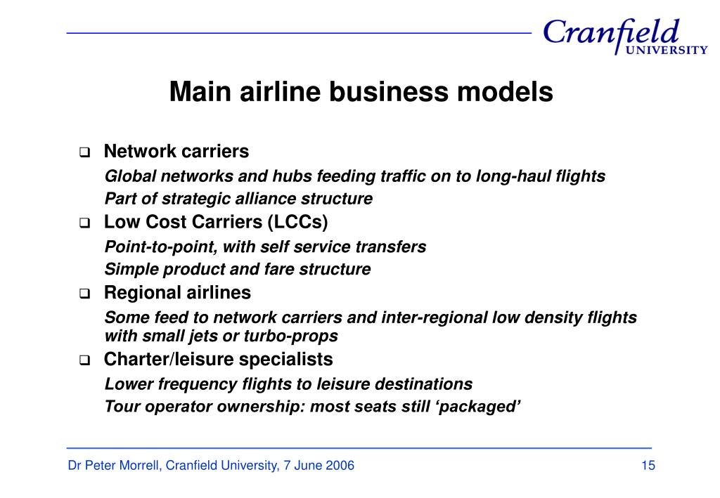 Main airline business models
