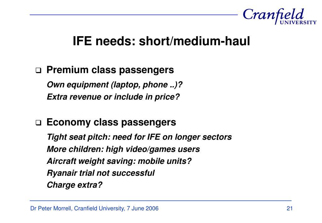 IFE needs: short/medium-haul