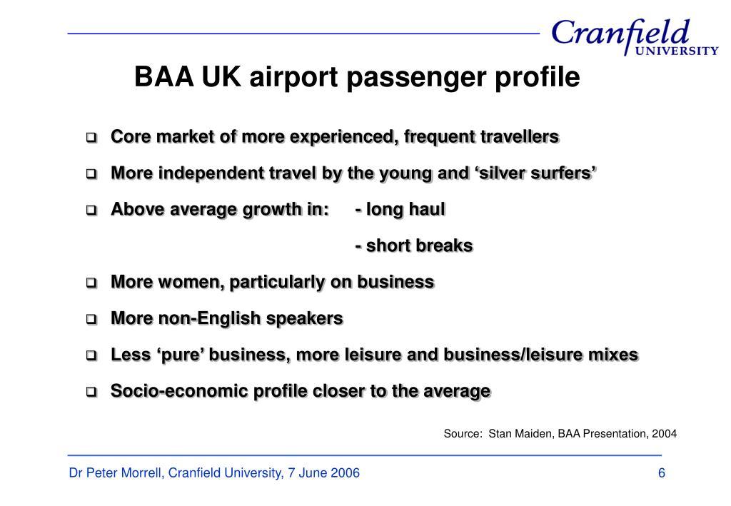 BAA UK airport passenger profile