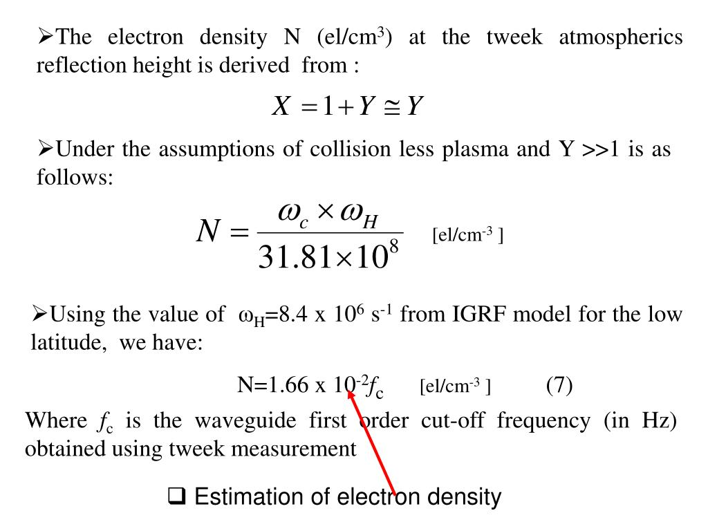 The electron density N (el/cm