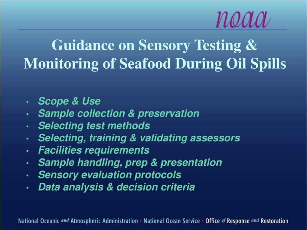 Guidance on Sensory Testing & Monitoring of Seafood During Oil Spills