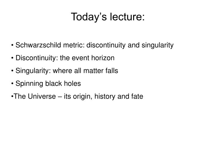 Today's lecture:
