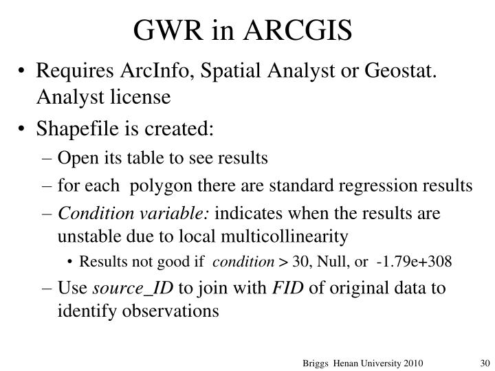 GWR in ARCGIS