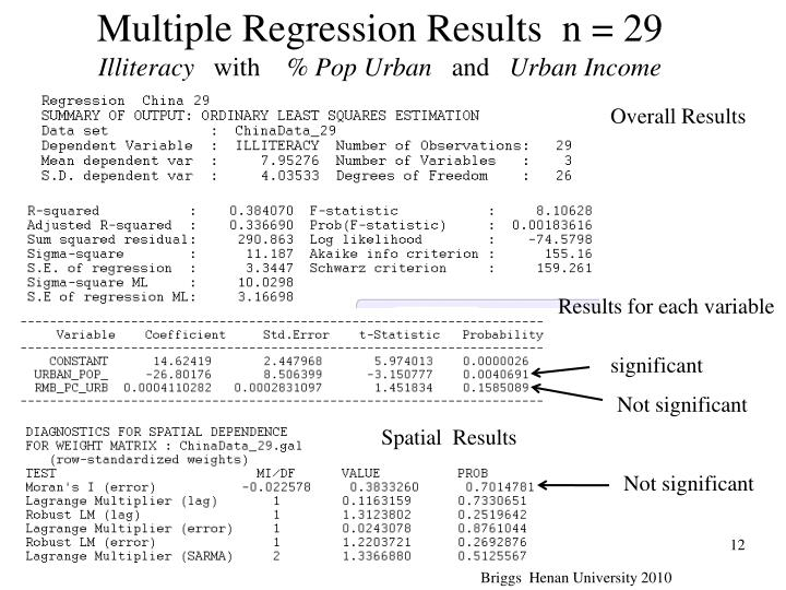 Multiple Regression Results  n = 29