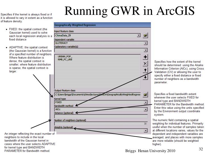 Running GWR in ArcGIS