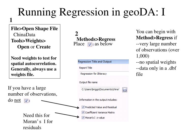 Running regression in geoda i