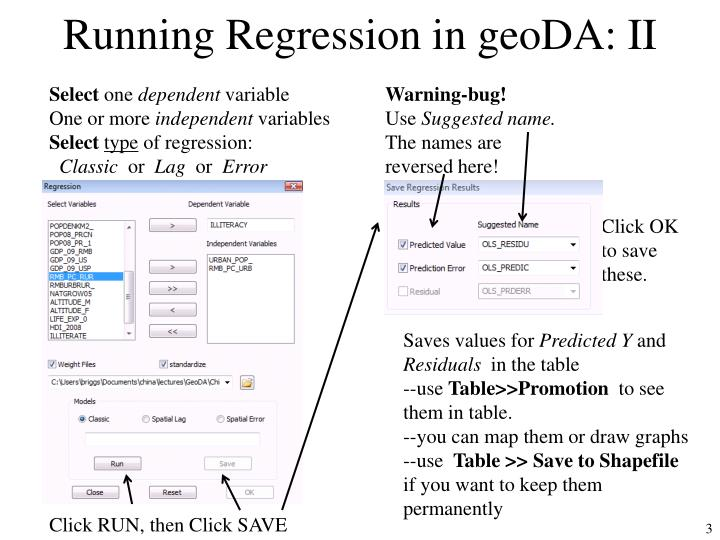 Running regression in geoda ii
