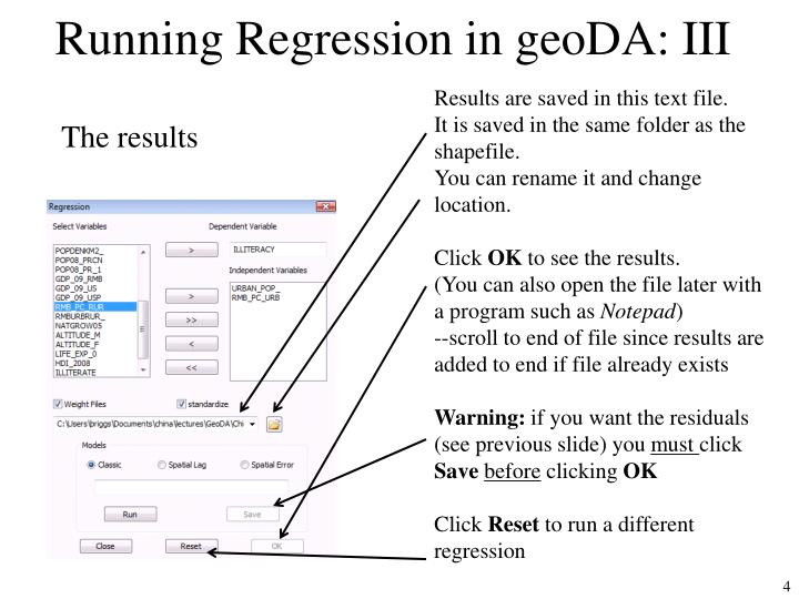 Running Regression in geoDA: III