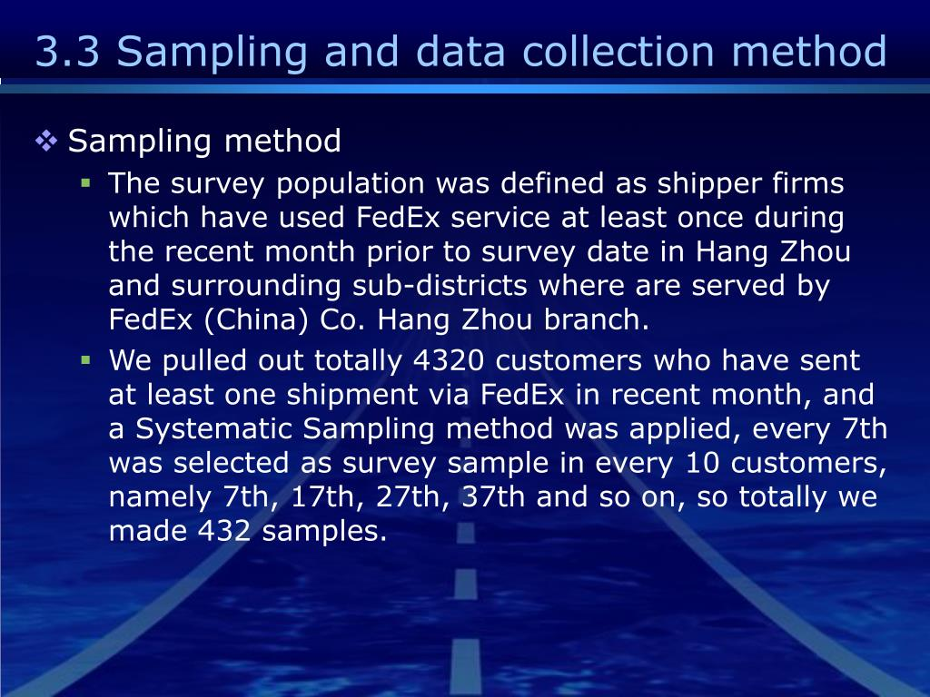 3.3 Sampling and data collection method